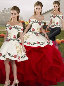 White And Red Tulle Lace Up 15 Quinceanera Dress Sleeveless Floor Length Embroidery and Ruffles