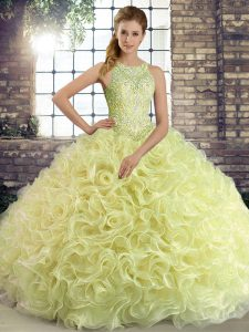Yellow Green Lace Up Quinceanera Dress Beading Sleeveless Floor Length