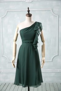 Hot Sale Knee Length Empire Sleeveless Peacock Green Celebrity Prom Dress Zipper