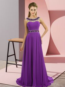 Trendy Sleeveless Brush Train Zipper Beading Prom Evening Gown