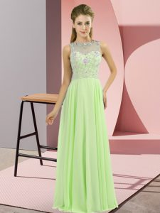 Charming Chiffon Zipper Homecoming Gowns Sleeveless Floor Length Beading