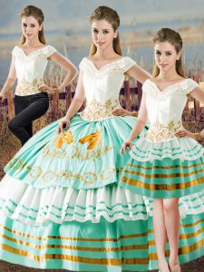 V-neck Sleeveless 15 Quinceanera Dress Floor Length Embroidery and Ruffled Layers Apple Green Satin