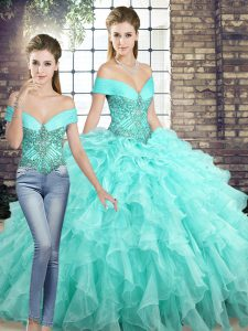 Two Pieces Sleeveless Aqua Blue Sweet 16 Dress Brush Train Lace Up