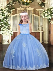 Excellent Tulle Scoop Sleeveless Zipper Beading and Appliques Custom Made Pageant Dress in Baby Blue
