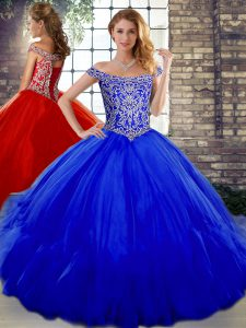 Off The Shoulder Sleeveless Tulle Quinceanera Gowns Beading and Ruffles Lace Up