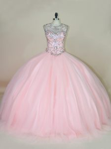 Custom Designed Baby Pink Tulle Lace Up Scoop Sleeveless Ball Gown Prom Dress Beading