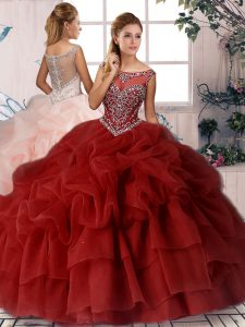 Sophisticated Scoop Sleeveless Organza Quinceanera Dresses Beading and Pick Ups Brush Train Zipper