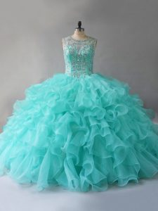 Fine Aqua Blue Scoop Neckline Beading and Ruffles Quinceanera Gowns Sleeveless Lace Up