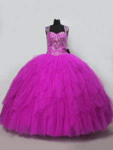 Extravagant Fuchsia Sleeveless Tulle Lace Up 15th Birthday Dress for Sweet 16 and Quinceanera
