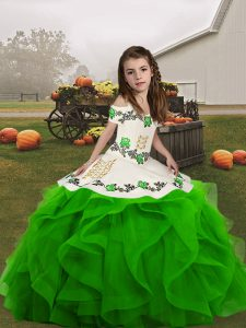 Most Popular Lace Up Straps Embroidery and Ruffles Pageant Dresses Organza Sleeveless