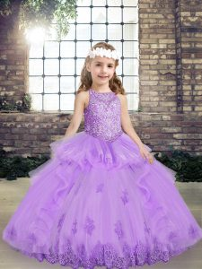 Lavender Scoop Neckline Lace and Appliques Glitz Pageant Dress Sleeveless Lace Up