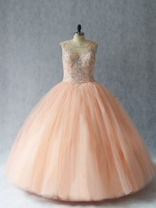 Modern Peach Sleeveless Floor Length Beading Lace Up Quinceanera Gowns