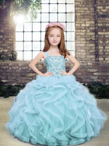 Most Popular Ball Gowns Pageant Dress Wholesale Light Blue Straps Tulle Sleeveless Floor Length Lace Up