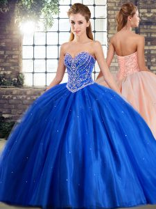 Blue Quinceanera Dress Military Ball and Sweet 16 and Quinceanera with Beading Sweetheart Sleeveless Brush Train Lace Up