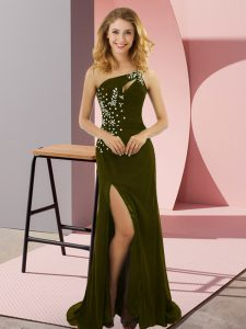 Olive Green Lace Up One Shoulder Beading Prom Party Dress Elastic Woven Satin Sleeveless Sweep Train