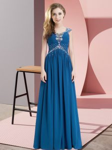 Modern Empire Evening Dress Blue Straps Chiffon Cap Sleeves Floor Length Lace Up