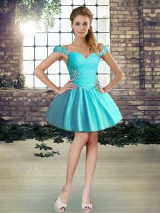 Sleeveless Mini Length Beading Lace Up Cocktail Dress with Aqua Blue