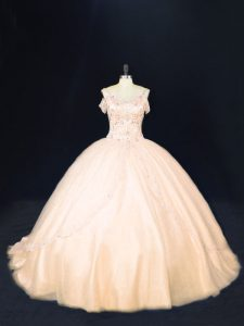 Zipper Quince Ball Gowns Peach for Sweet 16 and Quinceanera with Beading Court Train