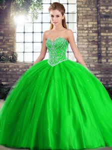 Lace Up Quinceanera Dress Green for Military Ball and Sweet 16 and Quinceanera with Beading Brush Train