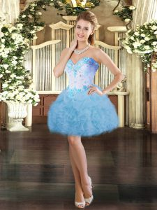 Adorable Sweetheart Sleeveless Organza Cocktail Dress Beading and Ruffles Lace Up