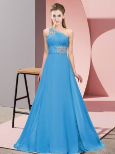 Flirting Beading Homecoming Dress Blue Lace Up Sleeveless Floor Length