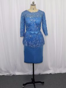 Exceptional Long Sleeves Zipper Mini Length Lace and Appliques Prom Dress