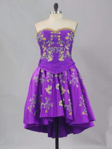Cheap Sleeveless Mini Length Embroidery Lace Up Prom Party Dress with Eggplant Purple