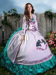 Extravagant Blue And White Quinceanera Gowns Sweet 16 and Quinceanera with Embroidery and Ruffles Sweetheart Sleeveless Lace Up