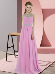 Rose Pink Zipper Formal Evening Gowns Beading Sleeveless Floor Length