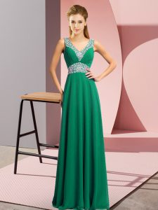 Dark Green Lace Up V-neck Beading Prom Party Dress Chiffon Sleeveless