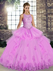 Lilac Ball Gowns Scoop Sleeveless Tulle Floor Length Lace Up Lace and Embroidery and Ruffles Quinceanera Dresses