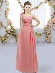 Watermelon Red Empire Chiffon One Shoulder Sleeveless Hand Made Flower Floor Length Lace Up Vestidos de Damas