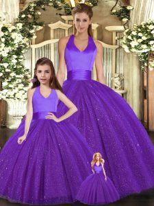 Purple Ball Gowns Halter Top Sleeveless Tulle Floor Length Lace Up Ruching 15th Birthday Dress