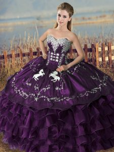 Modest Purple 15th Birthday Dress Sweet 16 and Quinceanera with Embroidery Sweetheart Sleeveless Lace Up