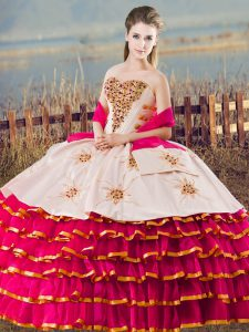 Floor Length Lace Up Quinceanera Dress Fuchsia for Sweet 16 and Quinceanera with Beading and Ruffled Layers