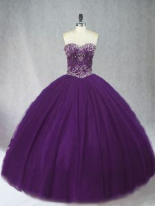 Affordable Floor Length Ball Gowns Sleeveless Purple Quinceanera Gown Lace Up