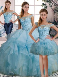 Organza Off The Shoulder Sleeveless Lace Up Beading and Ruffles Sweet 16 Dresses in Light Blue