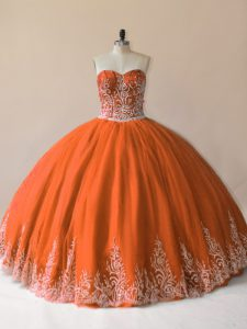 Cheap Orange Ball Gowns Sweetheart Sleeveless Tulle Floor Length Lace Up Embroidery Quinceanera Gown