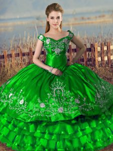 Admirable Floor Length Lace Up Ball Gown Prom Dress Green for Sweet 16 and Quinceanera with Embroidery and Ruffled Layers