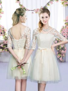 Trendy V-neck Half Sleeves Tulle Dama Dress for Quinceanera Lace and Bowknot Lace Up