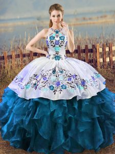 Modest Blue And White Quinceanera Gowns Sweet 16 and Quinceanera with Embroidery Halter Top Sleeveless Lace Up