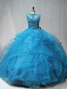 Lovely Aqua Blue Sleeveless Brush Train Beading and Ruffles Quinceanera Gowns