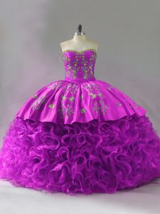 Extravagant Fuchsia Quinceanera Dress Sweetheart Sleeveless Brush Train Lace Up