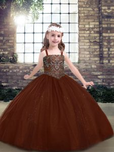 Ball Gowns Pageant Dress for Girls Brown Straps Tulle Sleeveless Floor Length Lace Up