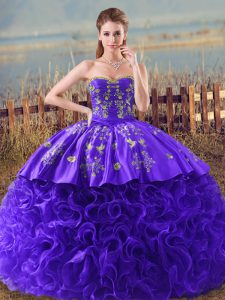 Purple Ball Gown Prom Dress Sweet 16 and Quinceanera with Embroidery and Ruffles Sweetheart Sleeveless Brush Train Lace Up