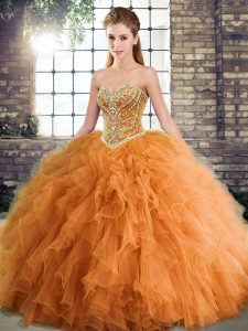 Floor Length Orange Sweet 16 Quinceanera Dress Sweetheart Sleeveless Lace Up