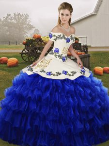 Custom Made Sleeveless Embroidery and Ruffled Layers Lace Up Quinceanera Dresses