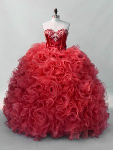 Red Sweetheart Lace Up Sequins Quinceanera Dress Sleeveless