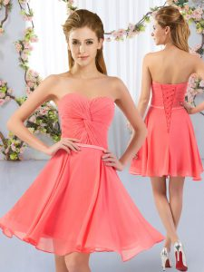 Sweetheart Sleeveless Chiffon Dama Dress Ruching Lace Up