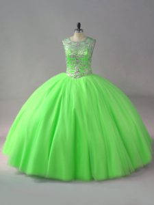 Fabulous Sleeveless Beading Lace Up Quinceanera Gowns
